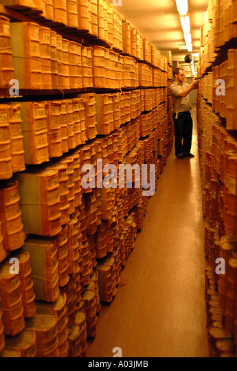 archive, library, museum, books, ancient, texts, manuscripts, writing, tomes, storage, librarian, curator, custodian, - Stock Image