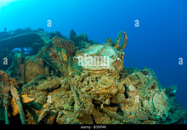 Wreckage of USS Saratoga Marshall Islands Bikini Atoll Micronesia Pacific Ocean - Stock Image