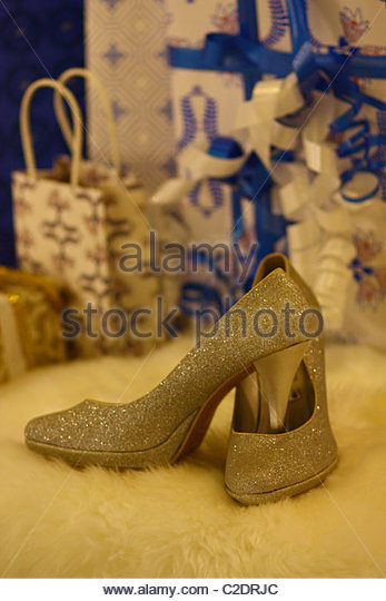 A pair of shoes in the shoes store - Stock Image