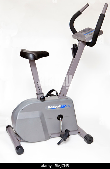 Exercise Bike, Stationary, Bike, exercise, equipment, gym, bicycle, cut out, white, - Stock Image