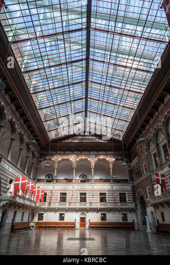 The main hall in the City Hall (Radhuspladsen) of Copenhagen, Denmark. - Stock Image