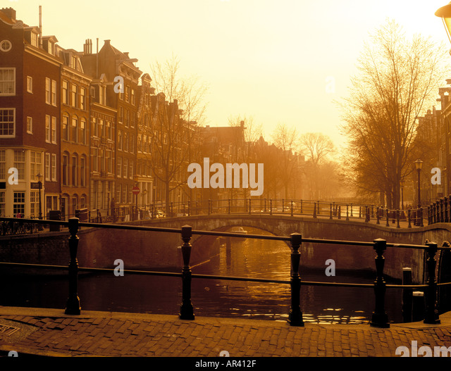 Leidsegracht Amsterdam Holland at dusk - Stock Image
