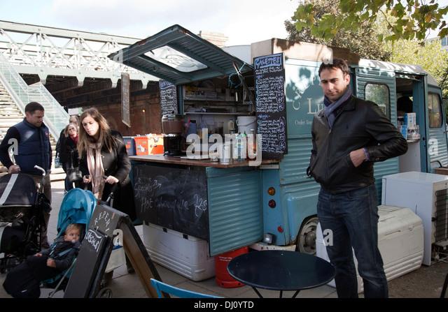 Mobile Gourmet food Van on London Southbank - UK - Stock Image
