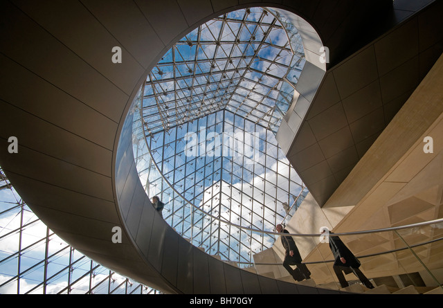 Pyramid Stairs Louvre Pairs France - Stock Image