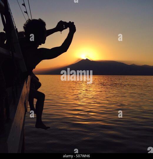 Sunset on boat - Stock-Bilder