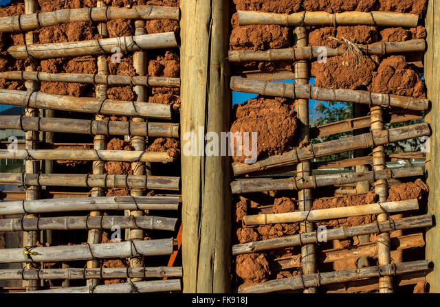 Detail of wall - replica of wattle and daub house used by the first immigrants - Stock Image