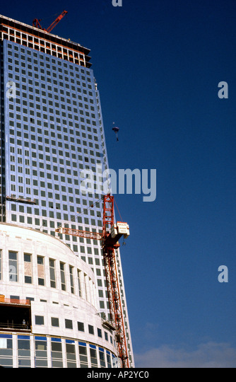 Australian Mark Scott making the first ever BASE Jump from Canary Wharf Tower Docklands London Great Britain - Stock Image