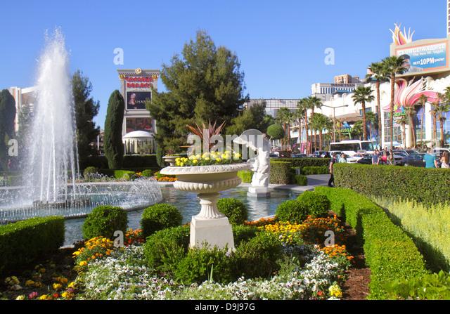 Nevada Las Vegas The Strip South Las Vegas Boulevard Caesars Palace Las Vegas Hotel & Casino fountain landscape - Stock Image