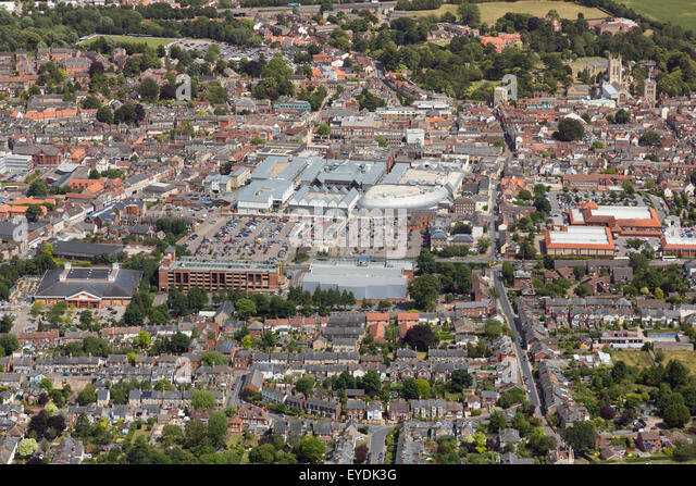 aerial photo of Bury St Edmunds town centre, Suffolk, UK - Stock Image
