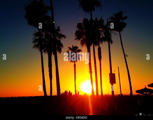 USA, California, Los Angeles, Venice Beach at Sunset - Stock-Bilder