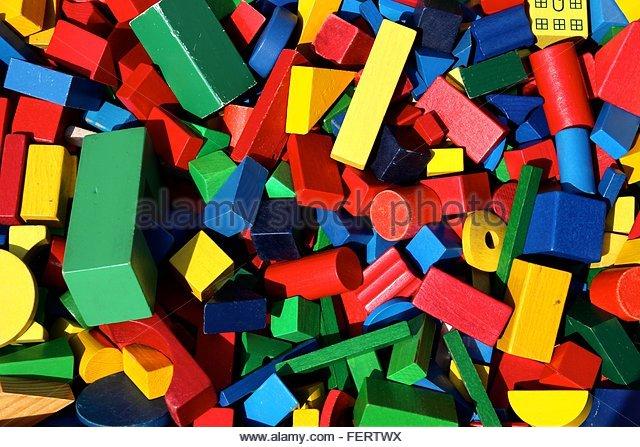 Full Frame Shot Of Multi Colored Toy Block - Stock-Bilder