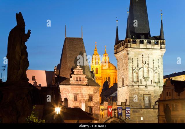 Charles Bridge, UNESCO World Heritage Site, Prague, Czech Republic, Europe - Stock Image