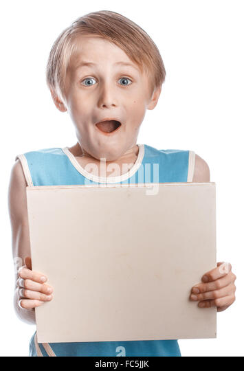 Boy on a white background with blank boad - Stock Image