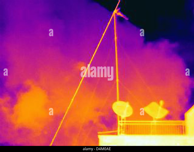 Thermal image of satellite dishes - Stock Image
