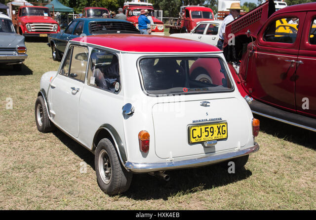 Red and White Morris Cooper S. - Stock Image