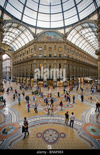 Italy Lombardy Milan Milano Vittorio Emmanuelle Galleria shopping shopping holidays travel, - Stock Image