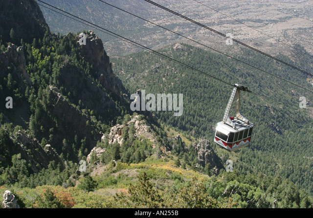 Albuquerque New Mexico Sandia Peak Tramway world's longest Rio Grande Valley W - Stock Image