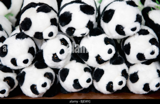 Panda stuffed toys for sale at the Chengdu Panda breeding and research center, Chengdu, China - Stock Image