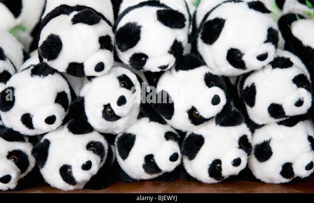 Panda stuffed toys for sale at the Chengdu Panda breeding and research center, Chengdu, China - Stock Image