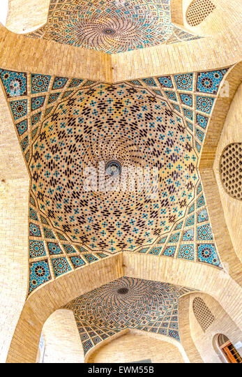 Nasir Al-Mulk Mosque ceiling dome - Stock Image
