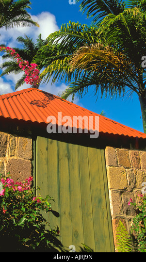 Hermitage Plantation hotel, island of nevis, caribbean small nevisian wood and stone building, luxury travel, - Stock Image