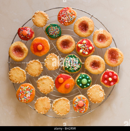 round, colourful christmas cookies - Stock Image