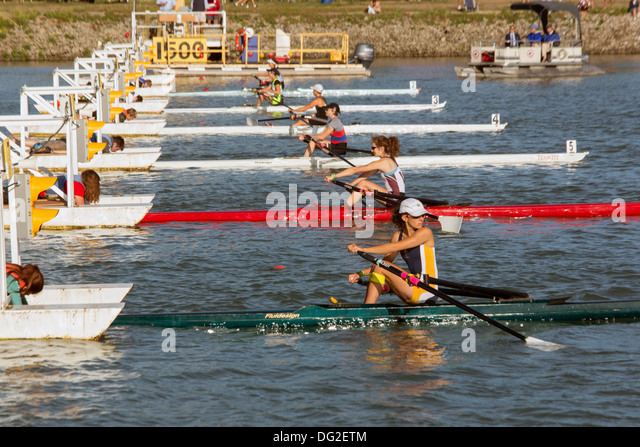 Royal Henley Regatta, rowers at the gate ready for a meet - Stock Image