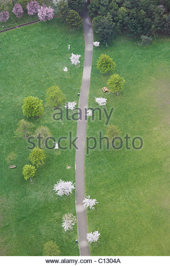view from Donauturm tower in Vienna on park - Stock Image