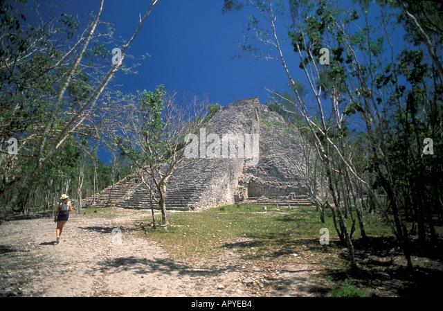 Mexico Yucatan Coba pyramid Nohoch Mul Maya ruins - Stock Image