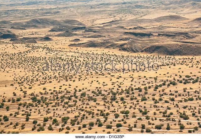 Aerial view of Damaraland, Kaokoland Wilderness in NW region, Namibia, Africa - Stock Image