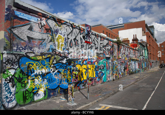the famous U2 wall covered in fan grafitti at windmill lane studios in dublin republic of ireland - Stock Image