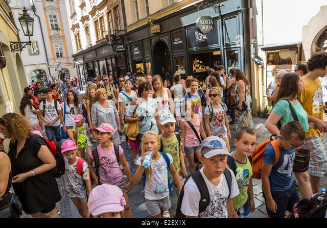 Czech Republic Prague historical center listed as World Heritage by UNESCO the Old Town (Stare Mesto) tourists in - Stock Image