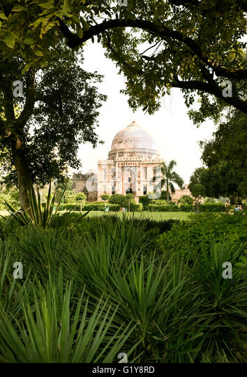 The Bara-Gumbad Tomb is one of two square-plan tombs in Lodi Gardens, New Delhi, India. - Stock Image