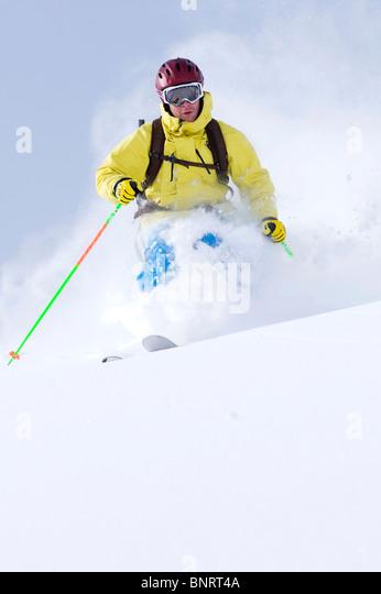 Man skiing, Alta, Utah. - Stock Image
