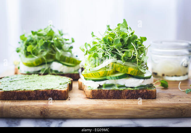 Green vegetable salad sandwich - Stock Image