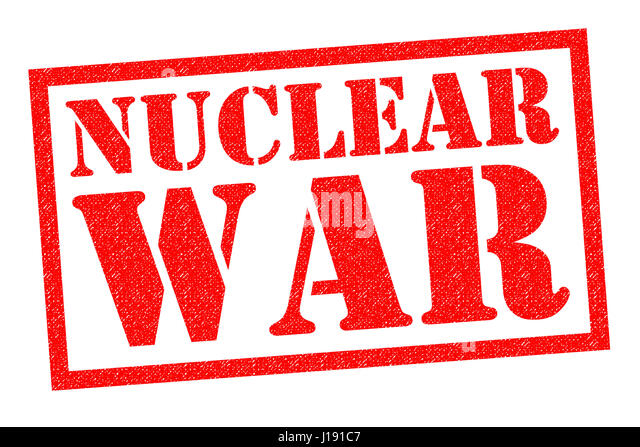 NUCLEAR WAR red Rubber Stamp over a white background. - Stock Image