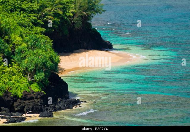 Hideaways Beach Princeville Island of Kauai Hawaii - Stock Image