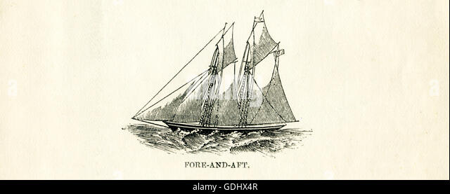 The vessel pictured in this 19th-century drawing is a schooner, specifically a fore-and-aft. - Stock-Bilder
