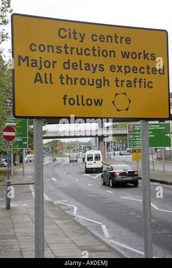 UK, England, Liverpool, traffic sign, construction delays, - Stock Image