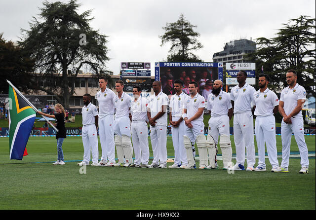 Hamilton, New Zealand. 25th Mar, 2017. March 25th 2017, Hamilton, New Zealand; The Proteas during the South African - Stock-Bilder