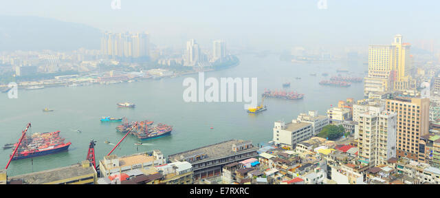 Birds-eye view of Macau in morning - Stock Image