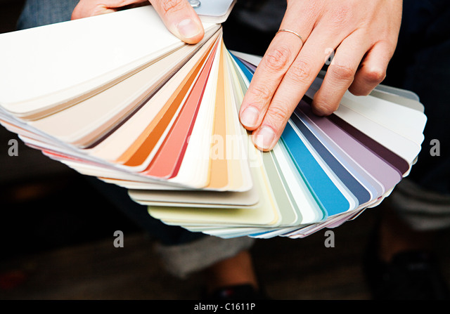 Woman looking at color swatch - Stock-Bilder