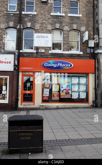 Going Places Travel Agent, Bangor, Wales - Stock-Bilder