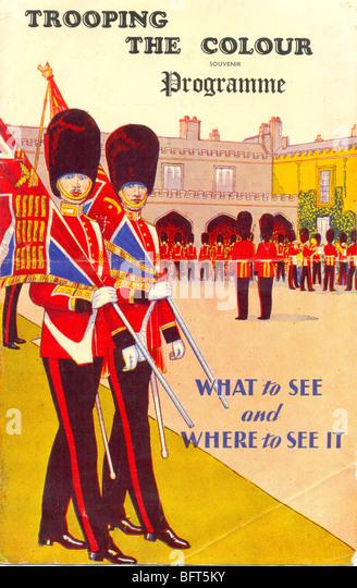 Trooping the Colour Programme 1950 - Stock-Bilder