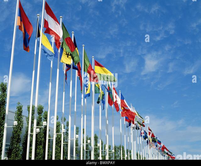 flags flags banners flag row geography internationally Lisbon Portugal - Stock-Bilder