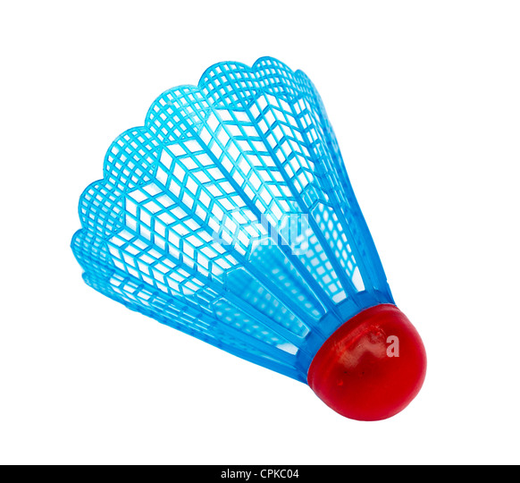 Badminton shuttlecock on white background - Stock Image