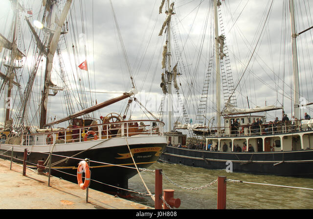 London, United Kingdom - April​ ​13: Around 40 Tall Ships are scheduled to sail the river Thames to Greenwich, marking - Stock Image