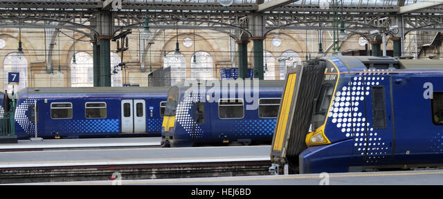 Pano of Scotrail Abellio train carriages,petition to bring back into state ownership,after poor service - Stock Image