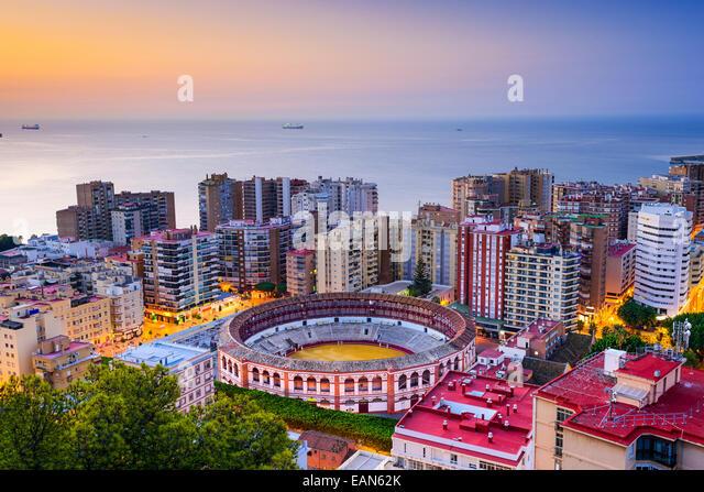 Malaga, Spain cityscape at dawn. - Stock Image