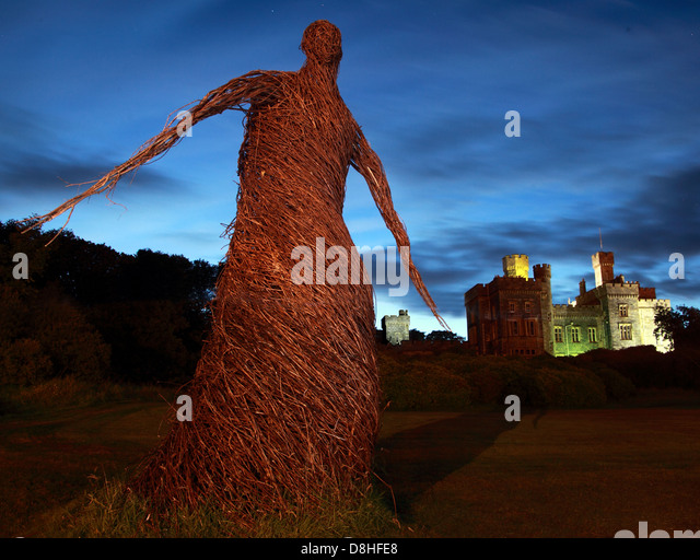 Wicker woman Stornoway Lews Castle Grounds at dusk - Stock Image